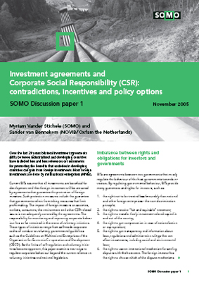 publication cover - Investment agreements and Corporate Social Responsibility