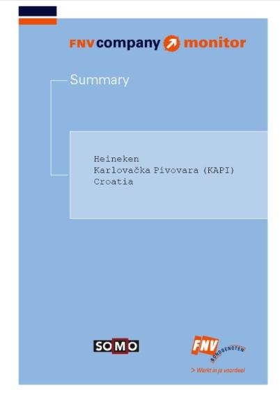 publication cover - FNV Company Monitor Heineken Croatia summary
