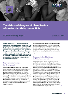publication cover - The risks and dangers of liberalisation of services in Africa under EPAs