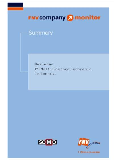 publication cover - FNV Company Monitor; Heineken Indonesia summary