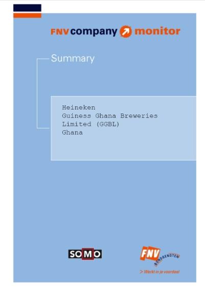publication cover - FNV Company Monitor; Heineken Ghana summary
