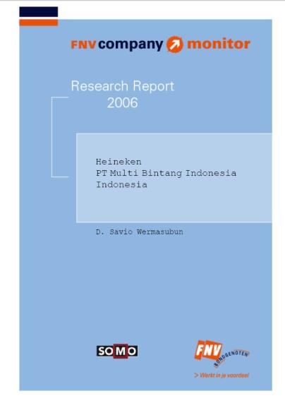 publication cover - FNV Company Monitor; Heineken Indonesia