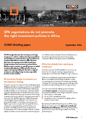 publication cover - EPA negotiations do not promote the right investment policies in Africa
