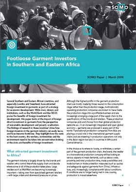 publication cover - Footloose Garment Investors in Southern and Eastern Africa