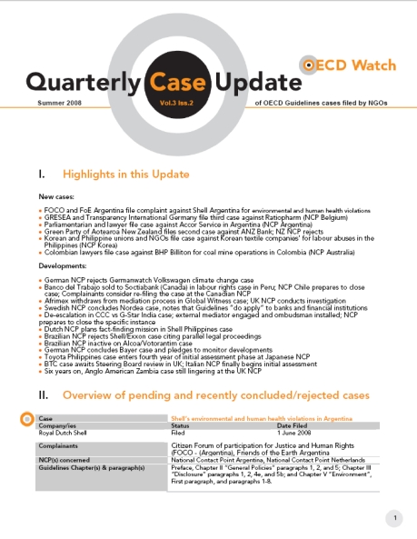 publication cover - OECD Watch Quarterly Case Update Summer 2008