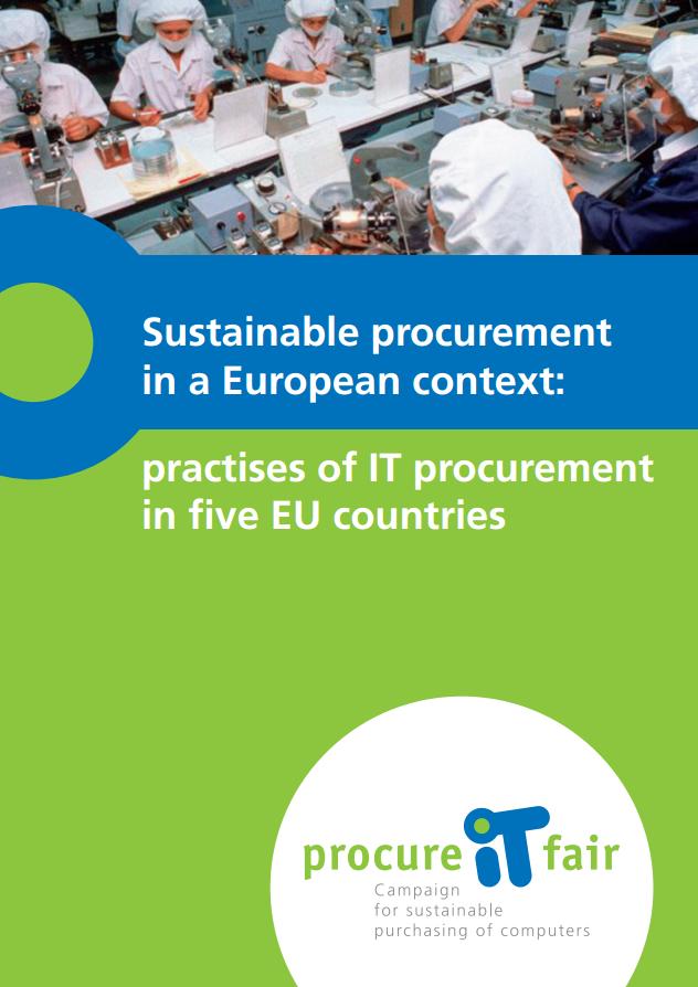 publication cover - Sustainable procurement in a European context