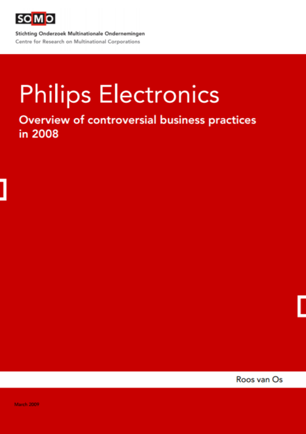 publication cover - Philips Electronics – Overview of controversial business practices in 2008