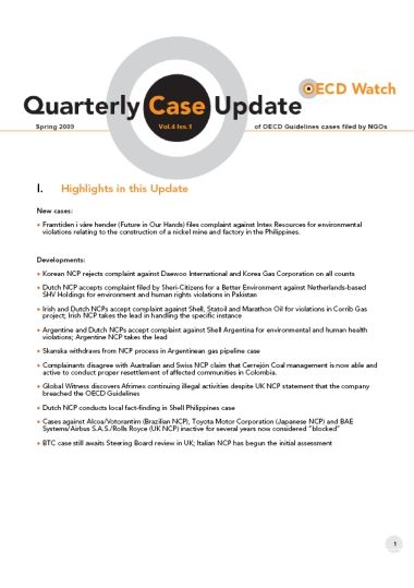 publication cover - OECD Watch Quarterly Case Update Spring 2009