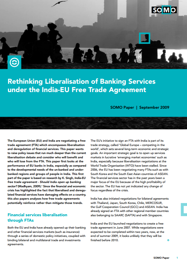 publication cover - Rethinking Liberalisation of Banking Services under the India-EU Free Trade Agreement