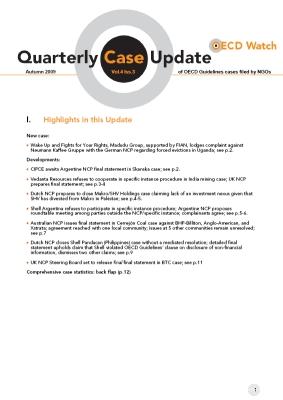 publication cover - OECD Watch Quarterly Case Update Autumn 2009