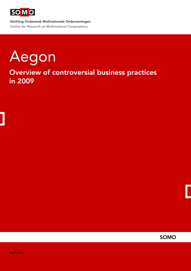 publication cover - Aegon – Overview of controversial business practices in 2009