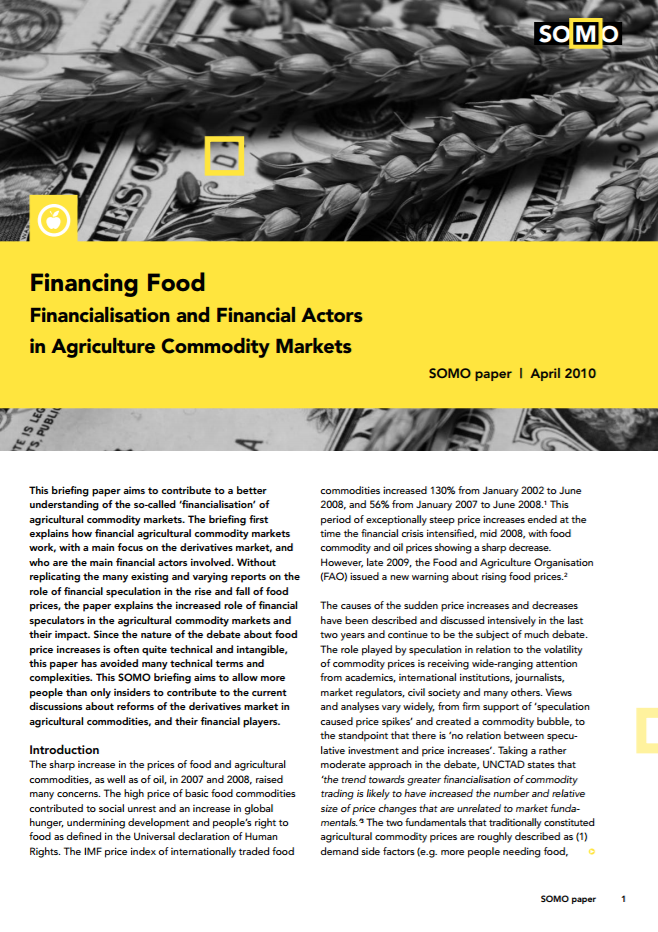 publication cover - Financing Food