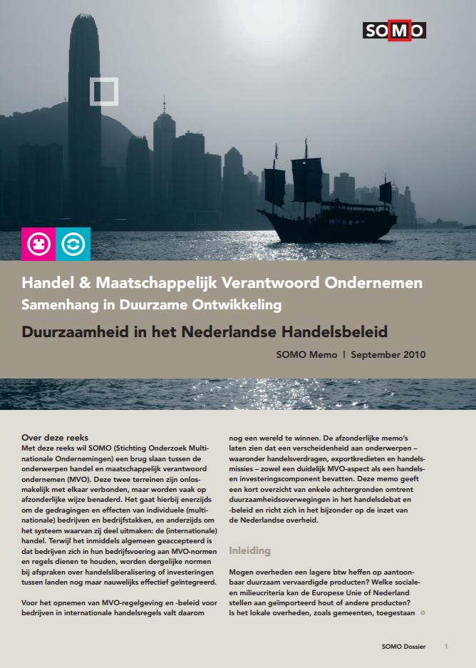 publication cover - Duurzaamheid in het Nederlandse Handelsbeleid