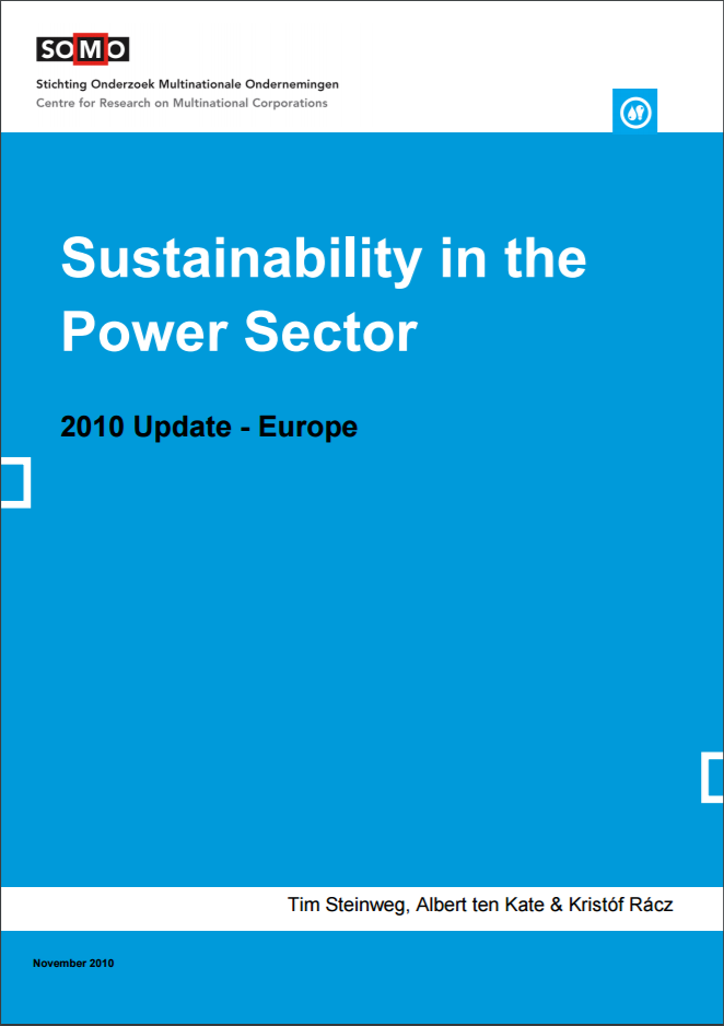publication cover - Sustainability in the Power Sector 2010 Update – Europe
