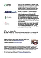 publication cover - Why to integrate sustainability criteria in financial regulation?