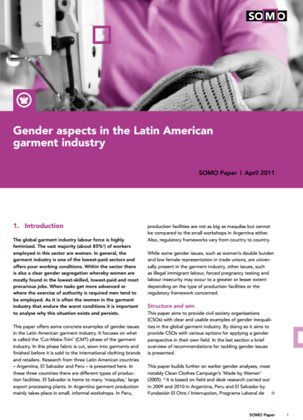 publication cover - Gender aspects in the Latin American garment industry