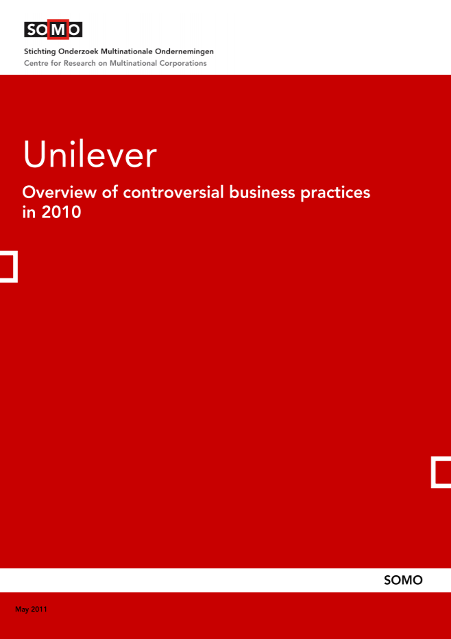 publication cover - Unilever – Overview of controversial business practices in 2010