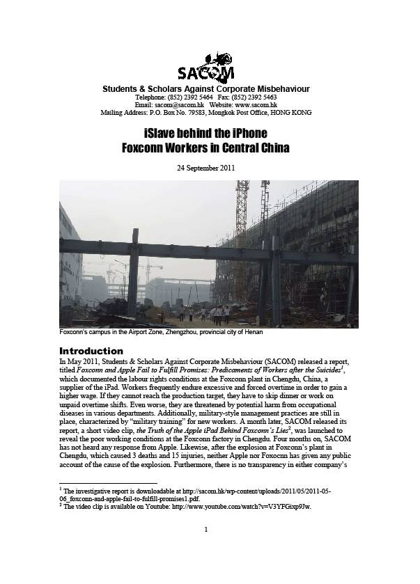 publication cover - iSlave behind the iPhone Foxconn Workers in Central China