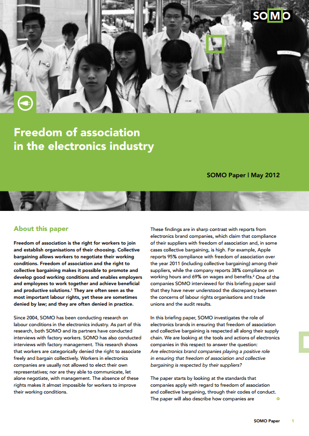 publication cover - Freedom of association in the electronics industry