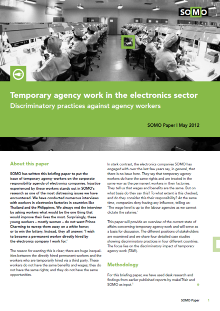 publication cover - Temporary agency work in the electronics sector