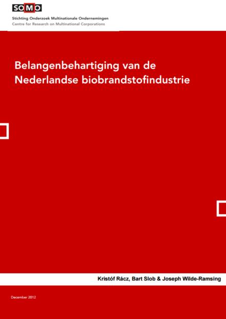 publication cover - Belangenbehartiging van de Nederlandse biobrandstofindustrie
