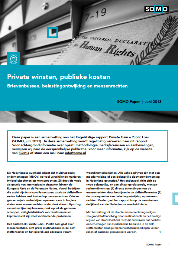 publication cover - Private winst, publieke kosten (samenvatting)