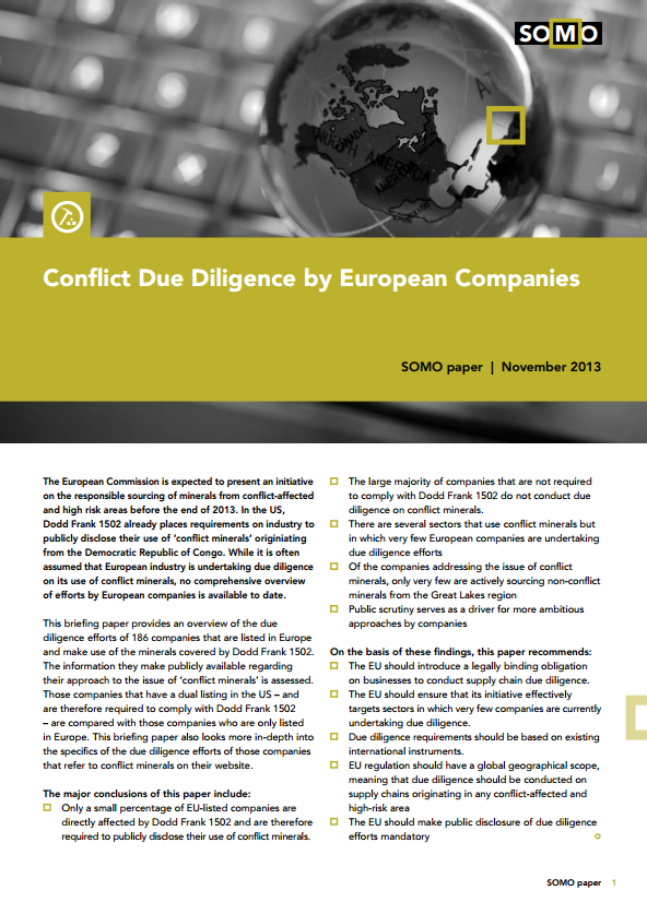 publication cover - Conflict Due Diligence by European Companies