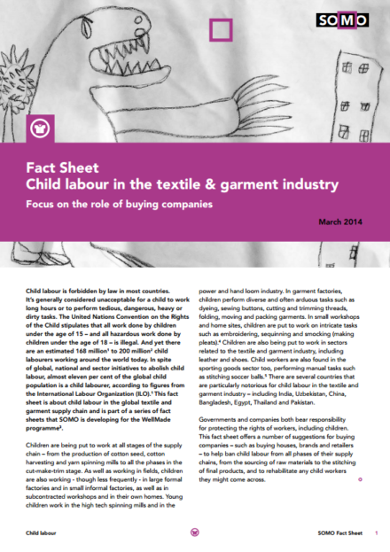 publication cover - Fact Sheet: Child labour in the textile & garment industry