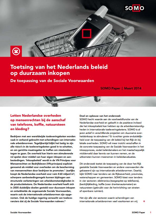 publication cover - Toetsing van het Nederlands Beleid op Duurzaam Inkopen