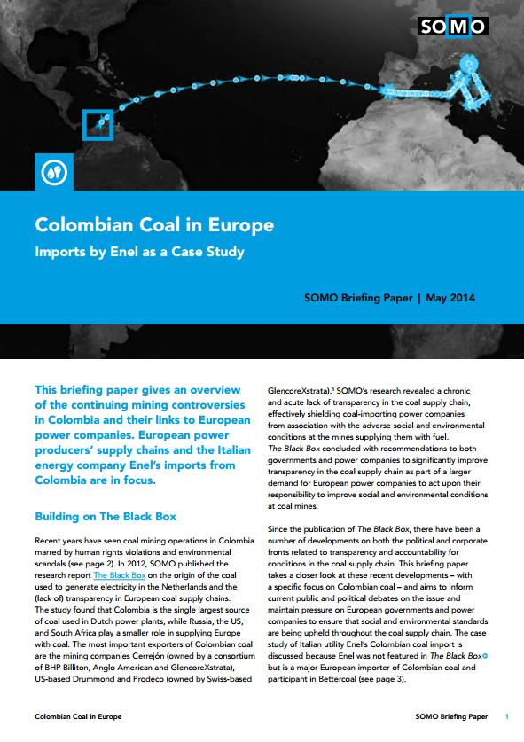 publication cover - Colombiaanse steenkool in Europa