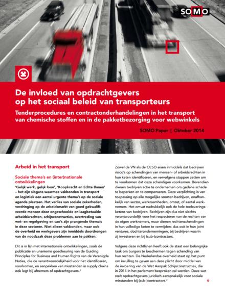 publication cover - De invloed van opdrachtgevers op het sociaal beleid van transporteurs