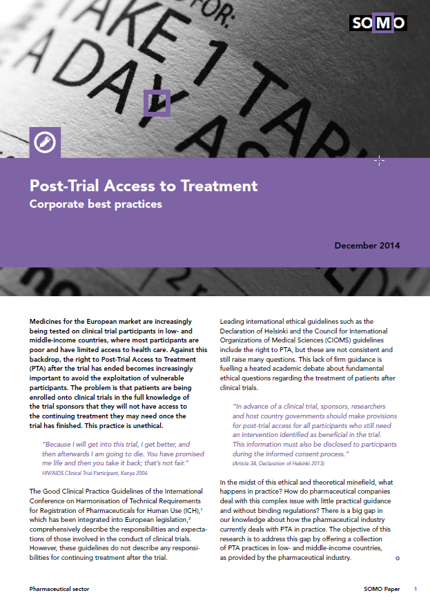 publication cover - Toegang tot behandeling na medicijnenonderzoek