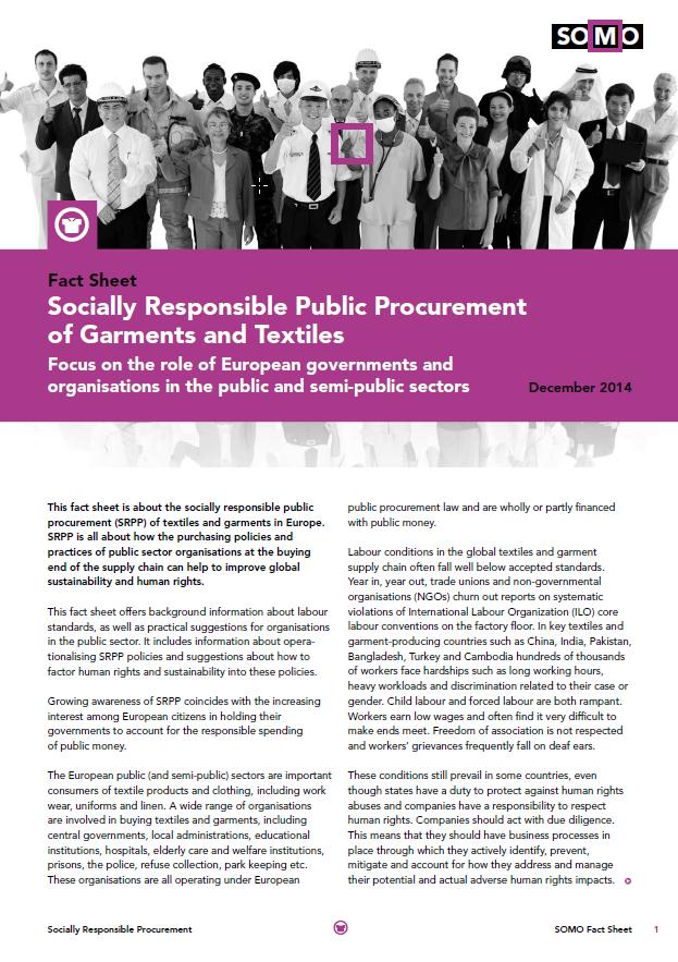 publication cover - Fact Sheet: Sociaal verantwoordelijke publieke aanbestedingen