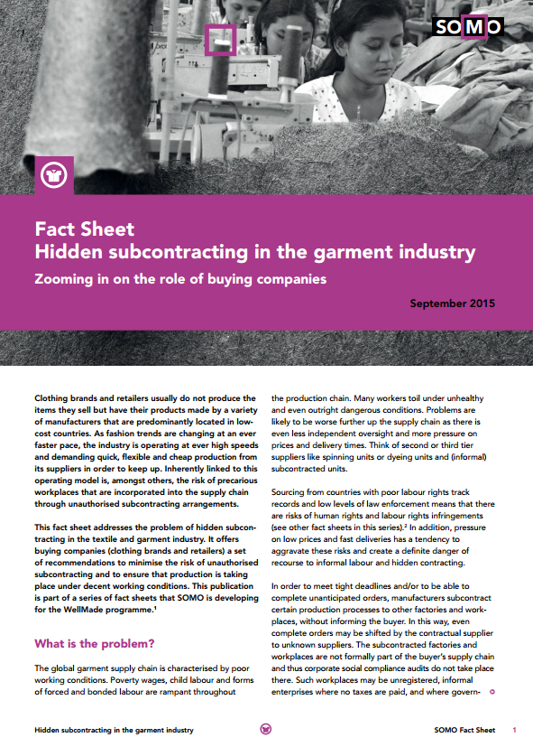 publication cover - Factsheet: Hidden subcontracting in the garment industy