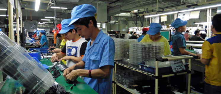 Assembly line at the G.Tech Technology Factory, Zhuhai, China
