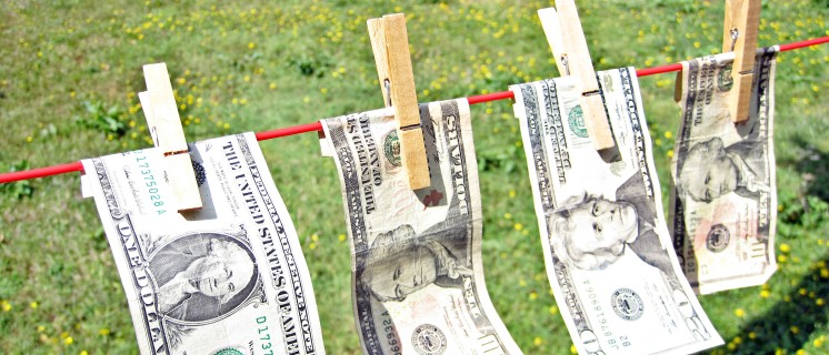 4 dollar bills on the washing line with a green pasture in the background