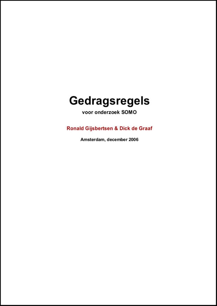 publication cover - SOMO Gedragsregels
