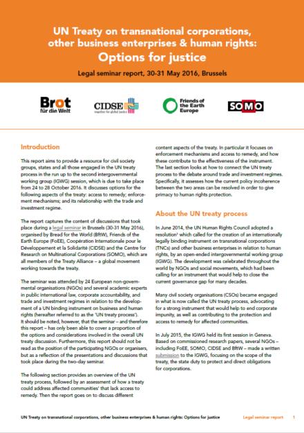 publication cover - Legal Seminar Report – UN Treaty