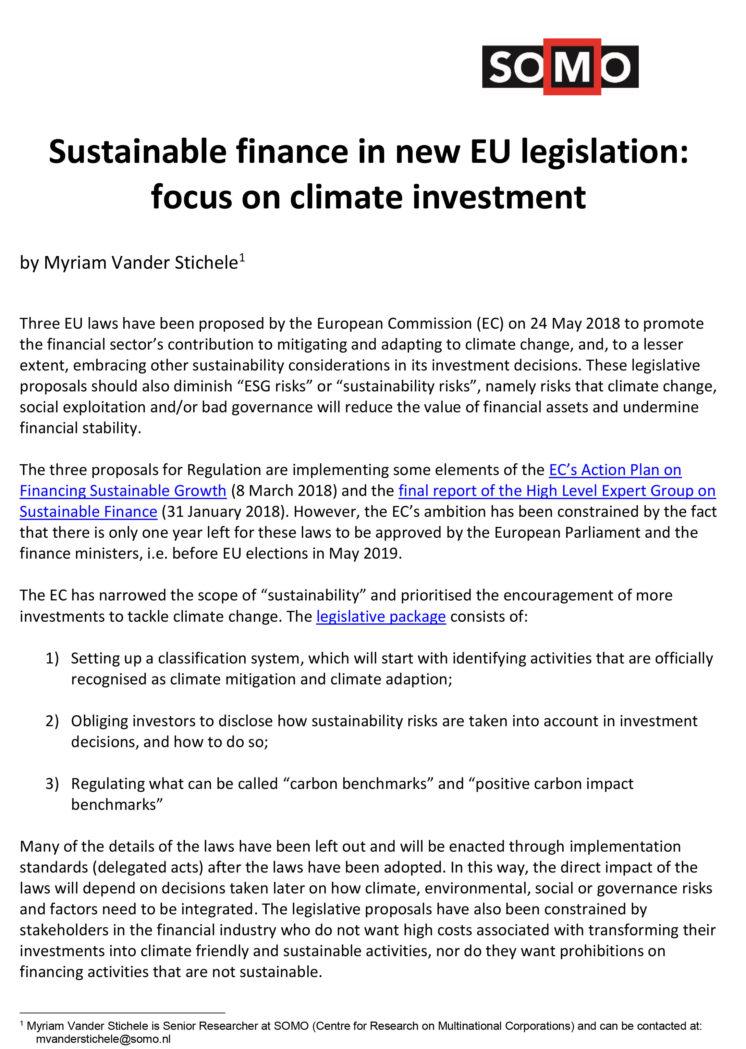 publication cover - Een duurzame financiële sector en nieuwe EU-wetgeving: een analyse