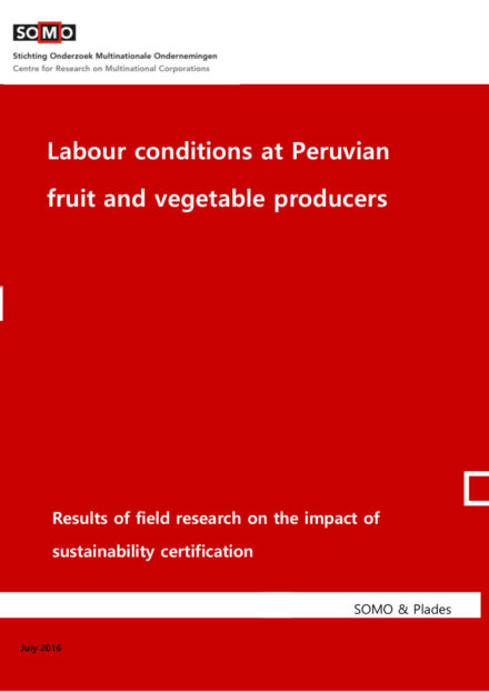publication cover - Labour conditions at Peruvian fruit and vegetable producers