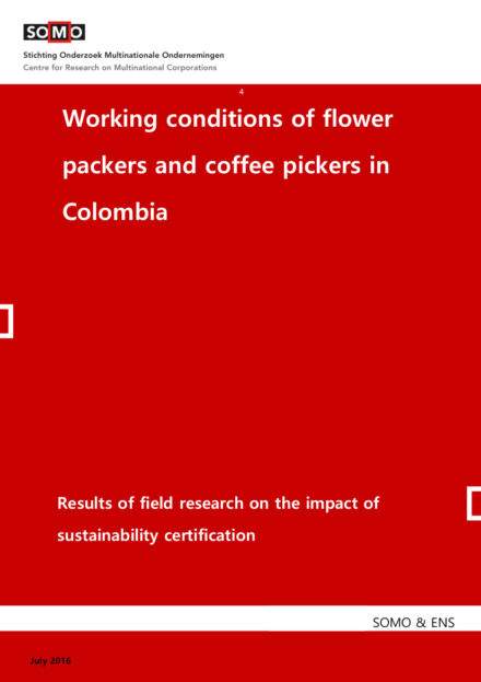 publication cover - Working conditions of flower packers and coffee pickers in Colombia