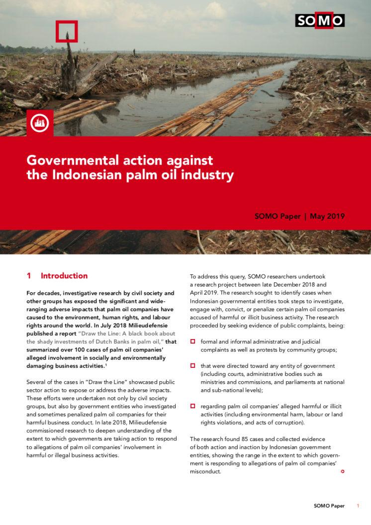 publication cover - Indonesische overheid in actie tegen lokale palmolie-sector