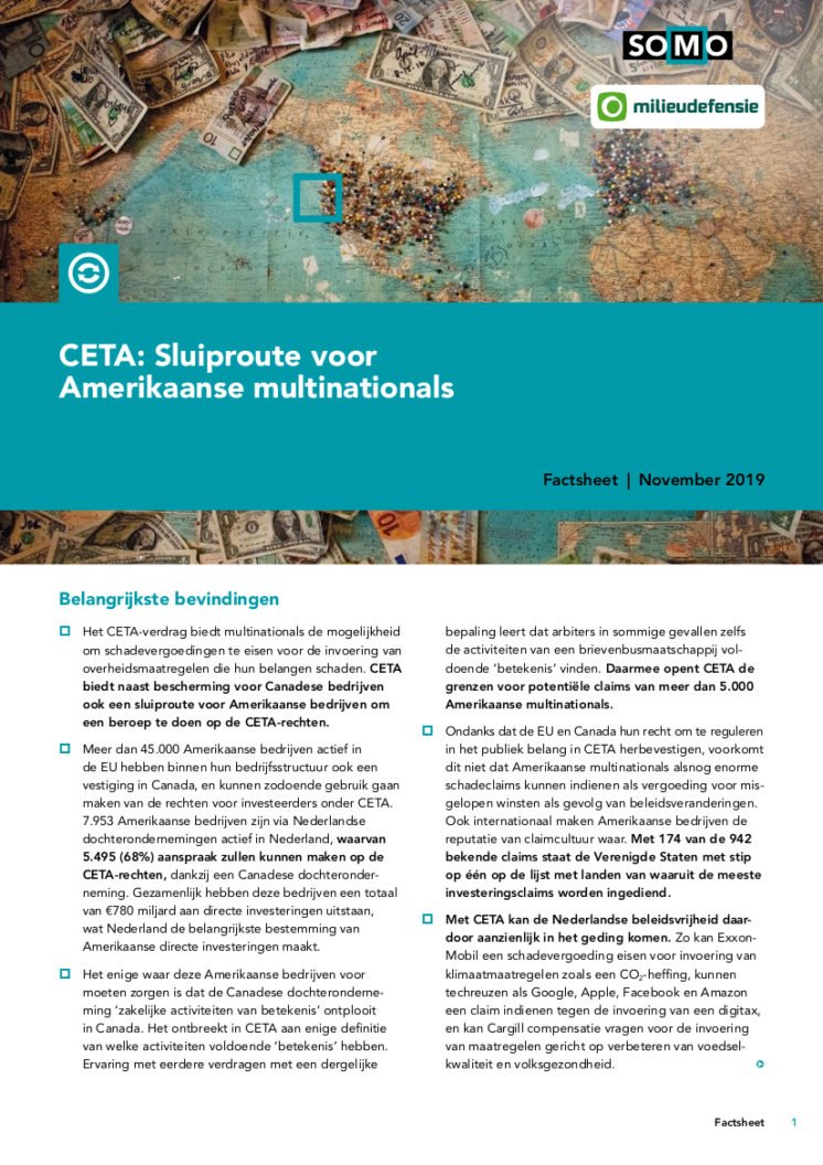 publication cover - CETA: Sluiproute voor Amerikaanse multinationals