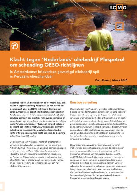 publication cover - Klacht tegen 'Nederlands' oliebedrijf Pluspetrol om schending OESO-richtlijnen