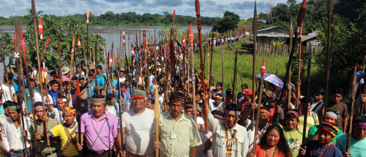 Protest of Quechua people from Pastaza river baisin.