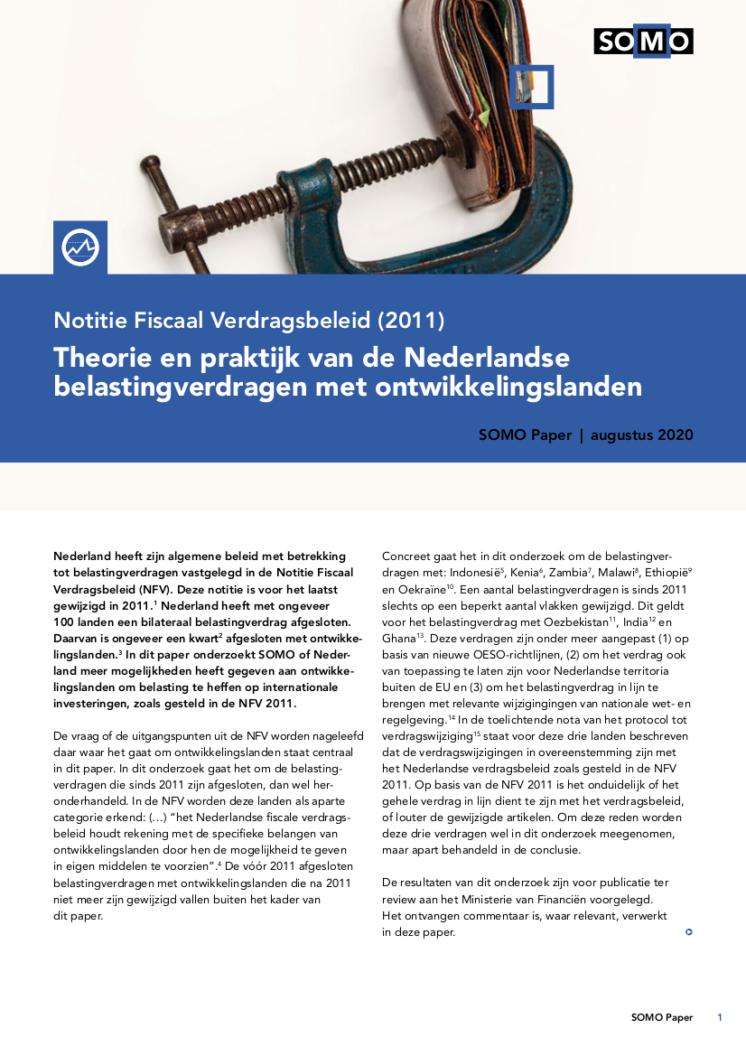 publication cover - Theorie en praktijk van de Nederlandse belastingverdragen met ontwikkelingslanden
