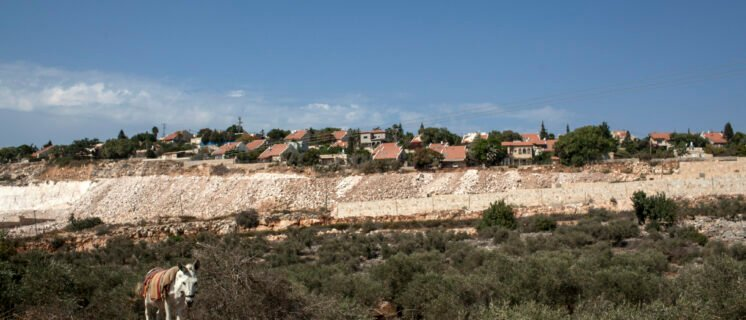 Abode village, with Israeli settlement Bet Arye in background. Villagers complain of land grabs and difficulty accessing their olive harvest in 2015.
