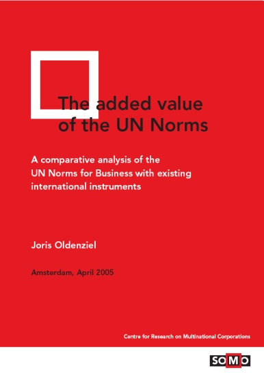 publication cover - The Added Value of the UN Norms