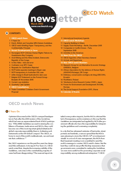 publication cover - OECD Watch Newsletter March 2006