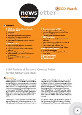 publication cover - OECD Watch Newsletter June 2006